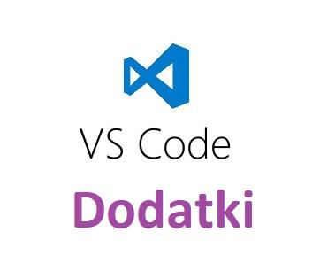 Logo Visual Studio Code z napisem dodatki