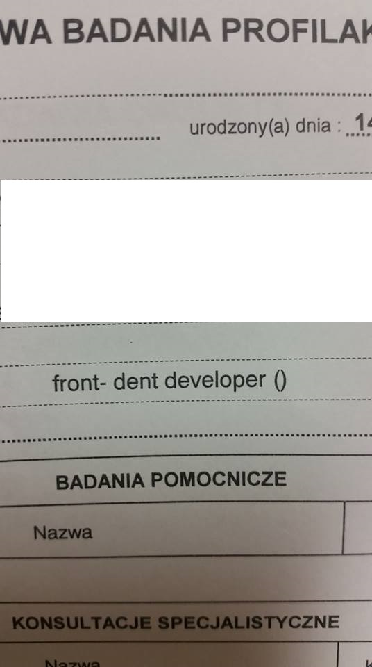 napis front dent na karcie obiegowej